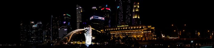 singapore, night view, cityscape, merlion, fountain