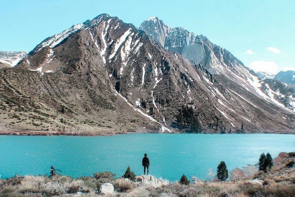 Taking in the view of Convict Lake near Mammoth on our West Coast road trip