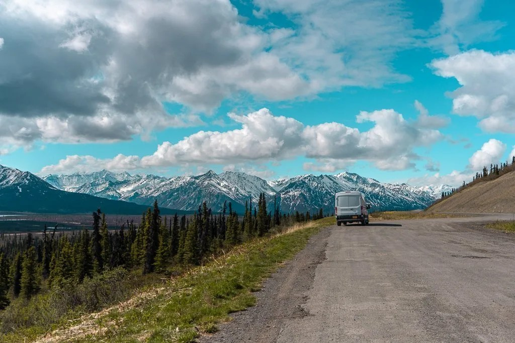 Pull off areas along the Alaska Highway