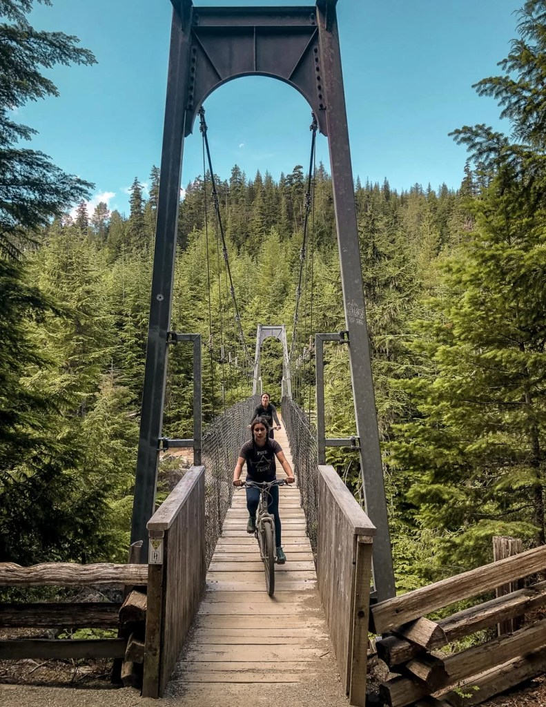 Biking Cheakamus River Suspension Bridge