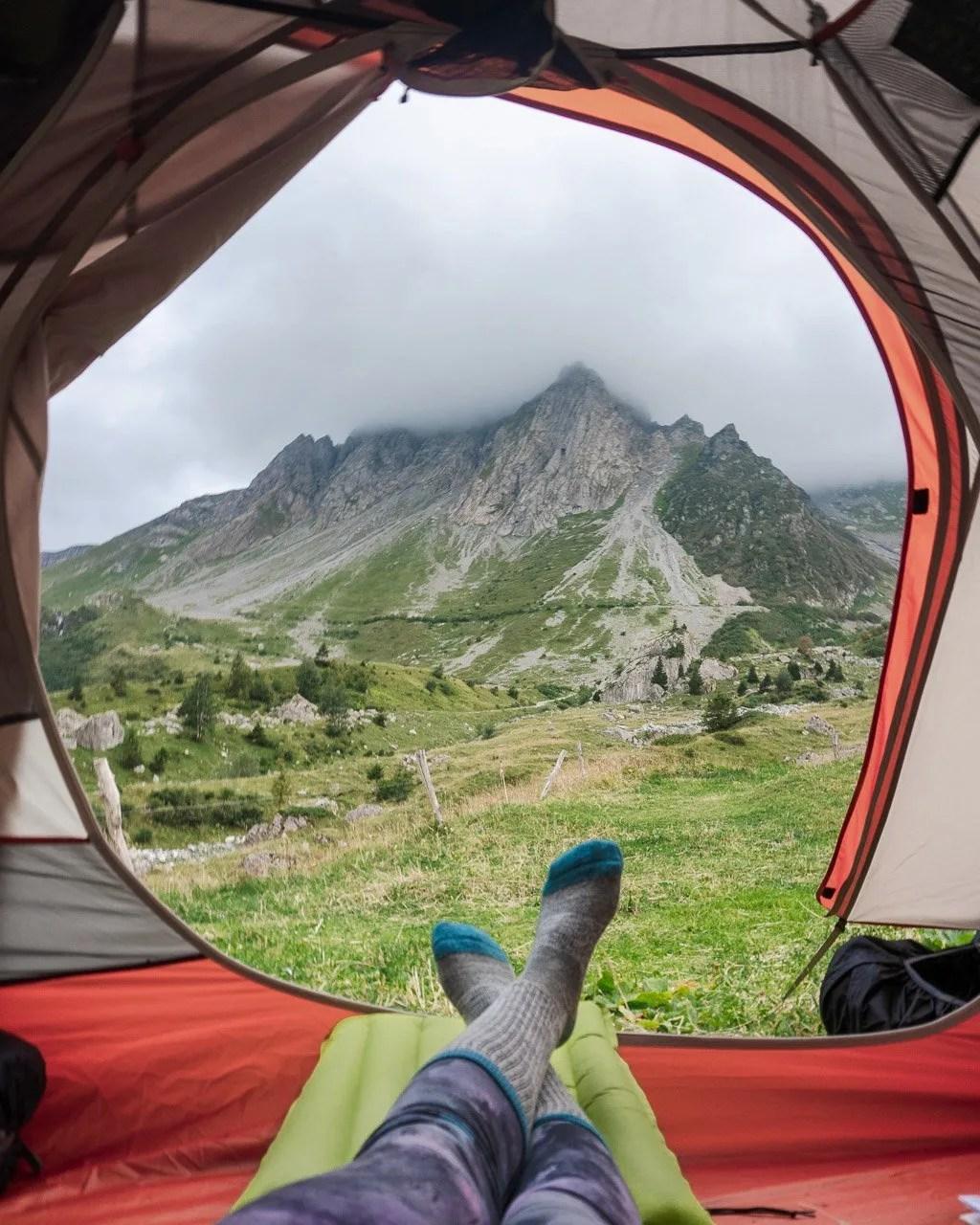 Tent view from Chalet Refuge de la Balme on the Tour du Mont Blanc stage 2
