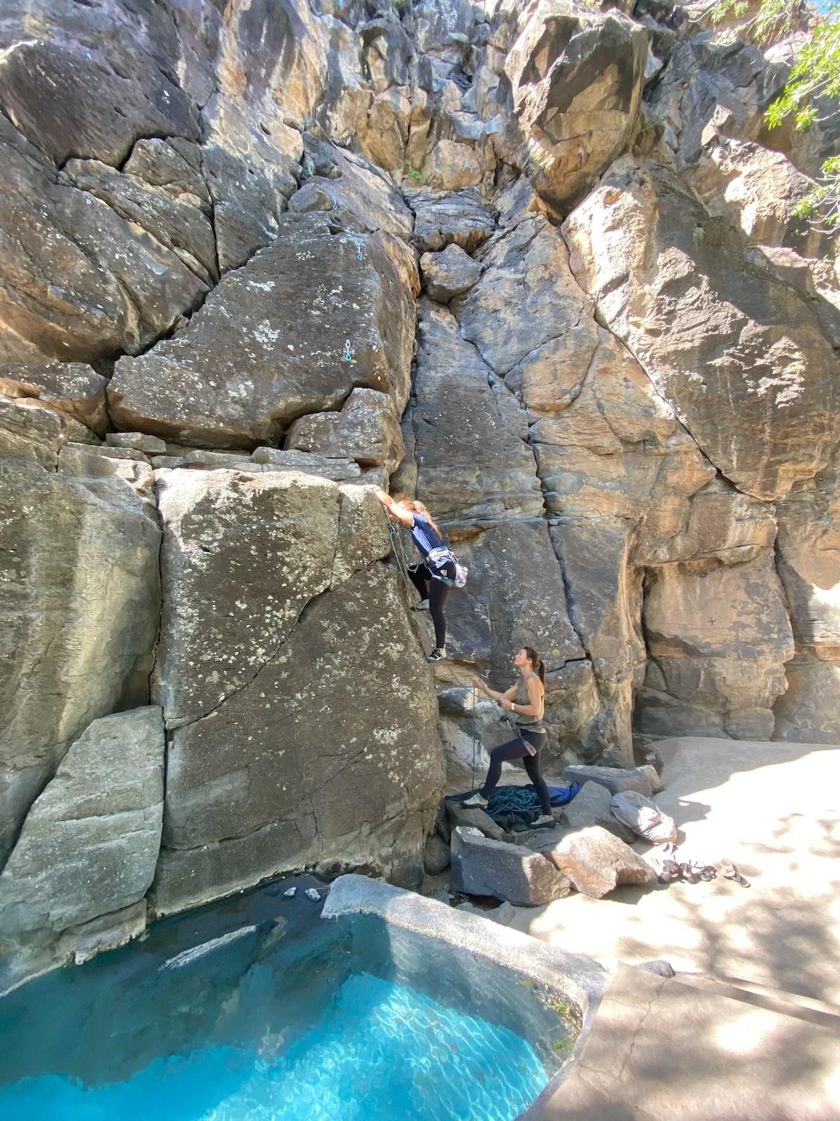 Climbing Flytrap wall, crawdad canyon, veyo pool