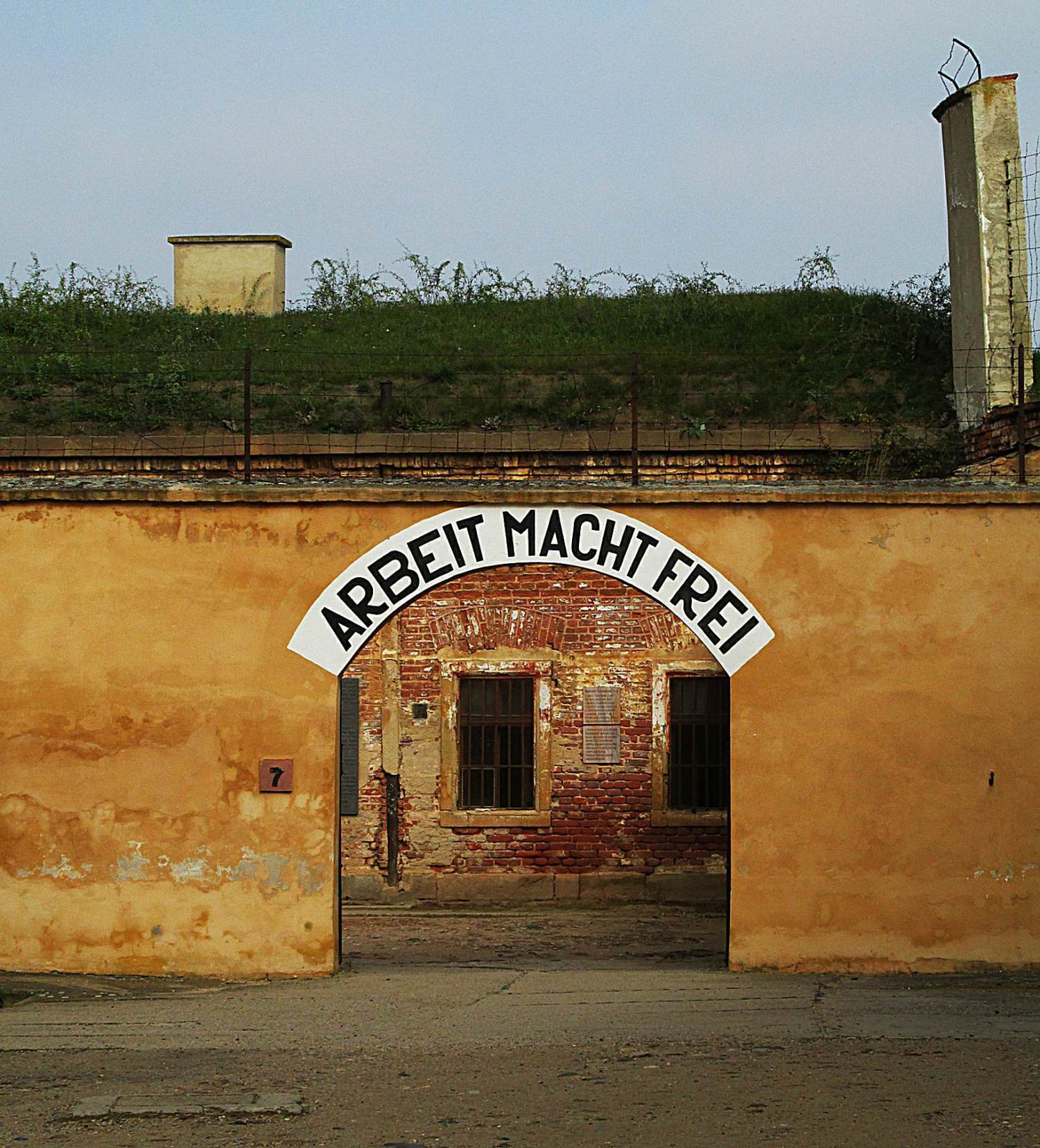 "The sign  at the entrance to Terezín Prison Camp, near Prague, ""Arbeit Macht Frei,""--Work Will Make You Free"