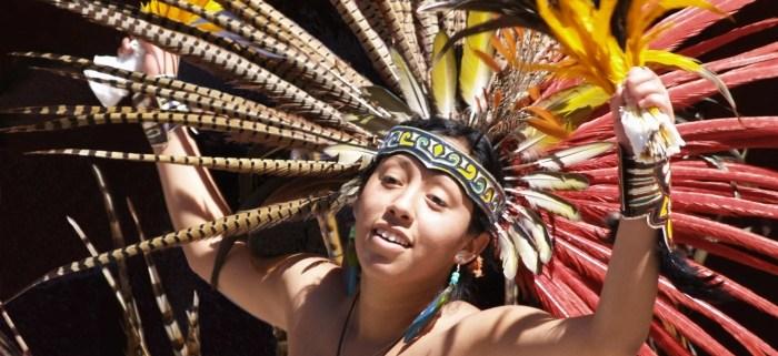 Dreamy girl conchero dancer in San Miguel de Allende, Mexico