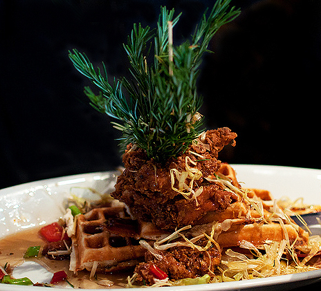 Chicken with waffles at Hashhouse a Go Go