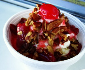 Luv-it special sundae-with frozen strawberries and toasted pecans