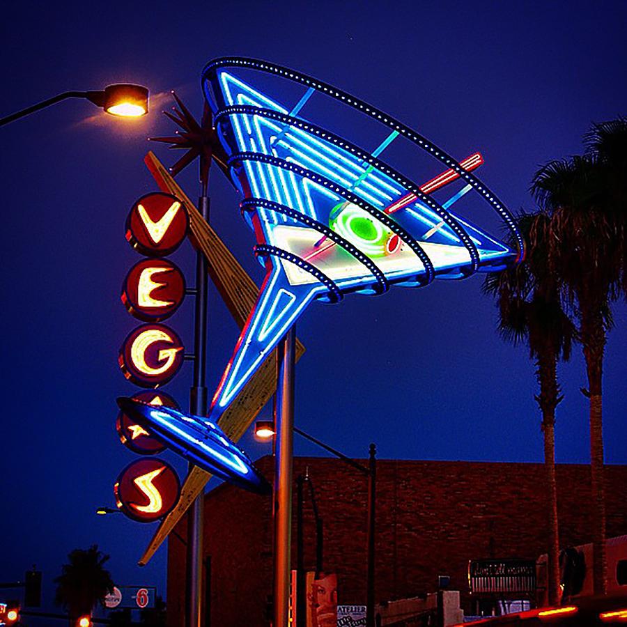 Oscar's Neon Martini Glass on Fremont Street in old downtown Las Vegas