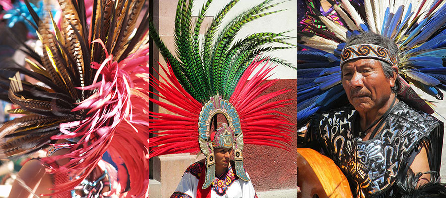 Three photos of conchero dancers in full regalia in San Miguel de Allende