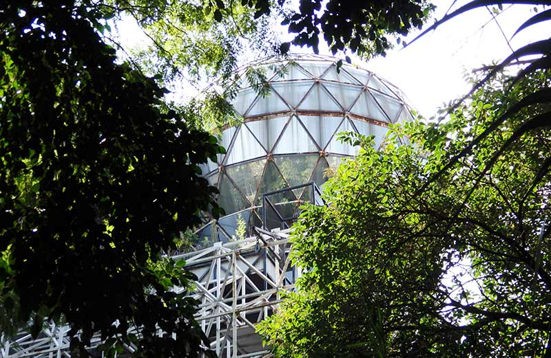 Steel constructed building with geodesic dome on the roof, Avenida Amsterdam, La Condesa, Mexico City