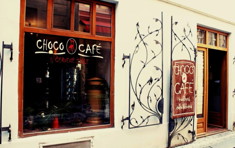 The facade of Choco Cafe, near Old Town Square, Prague