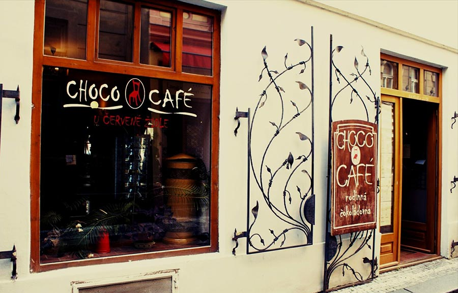 Entrance to the Choco Cafe in the Stare Mesto area, a good place for a break when traveling to Prague.