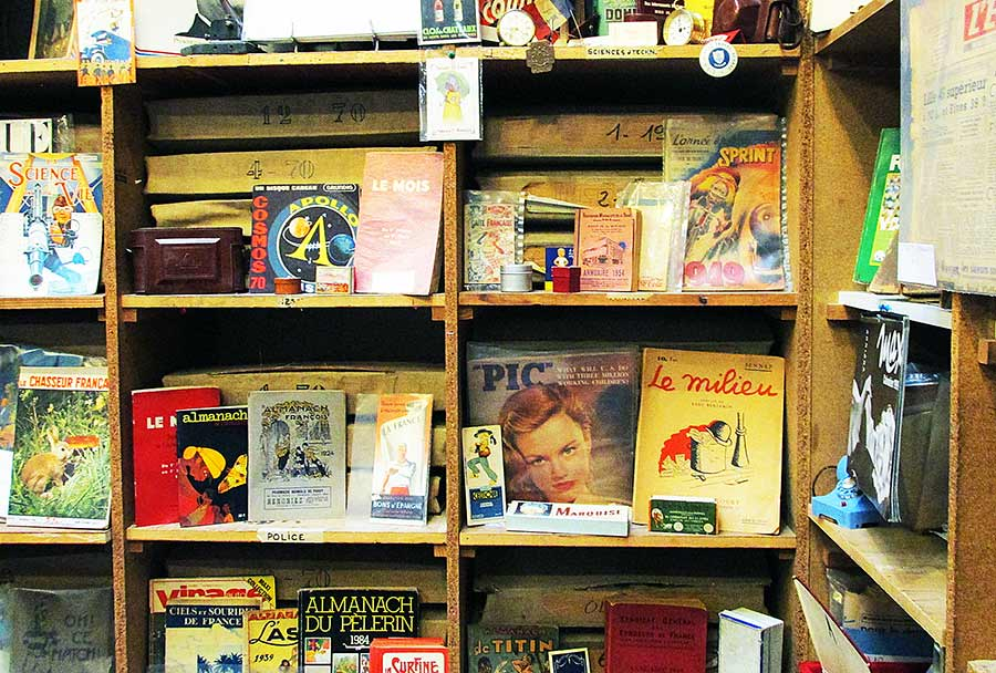 crates with vintage magazines