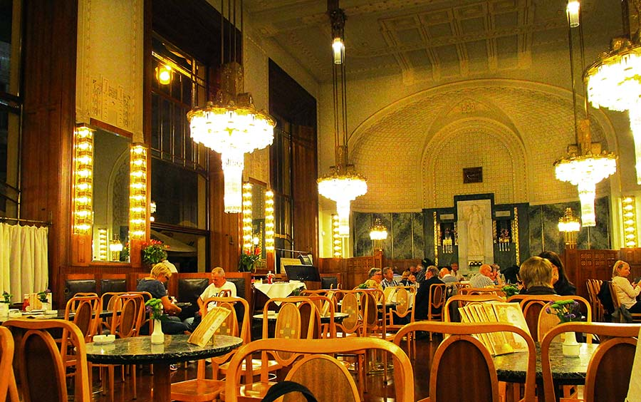 The beautiful Art Nouveau interior of the Municipal House Café in Prague