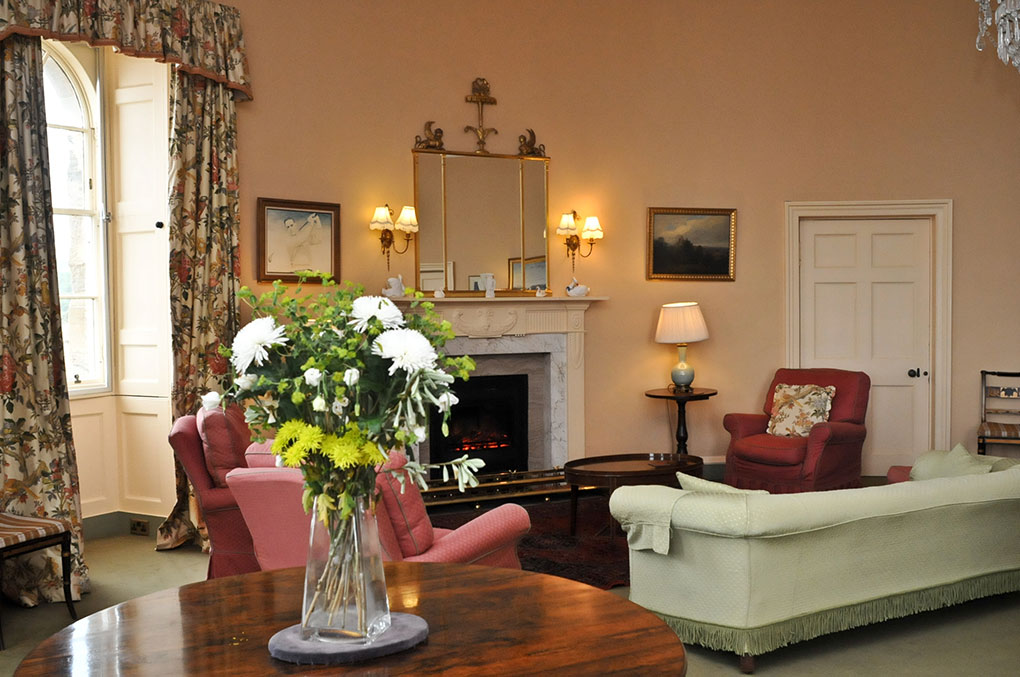 The round sitting room at the Eisenhower Hotel at Scotland's Culzean Castle.