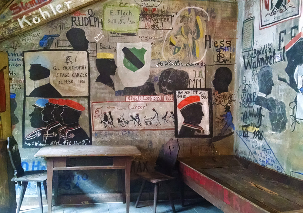 Every inch of the walls of the rooms at the student jail at Heidelberg university is covered with graffiti.