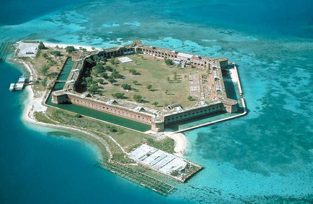 The 19th-century Fort Jefferson is part of the Dry Tortugas National Park, found in the Gulf of Mexico west of Key West, Florida.