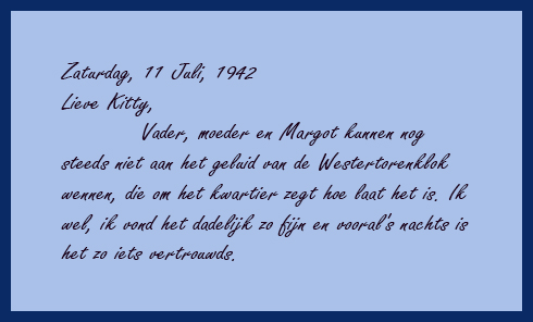 in this quote in the original dutch anne frank talks about hearing the bells