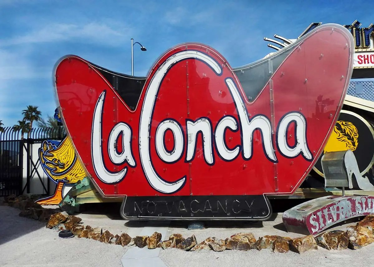 The entrance lobby of the old La Concha motel was refurbished to become the lobby of the Neon Museum in Las Vegas