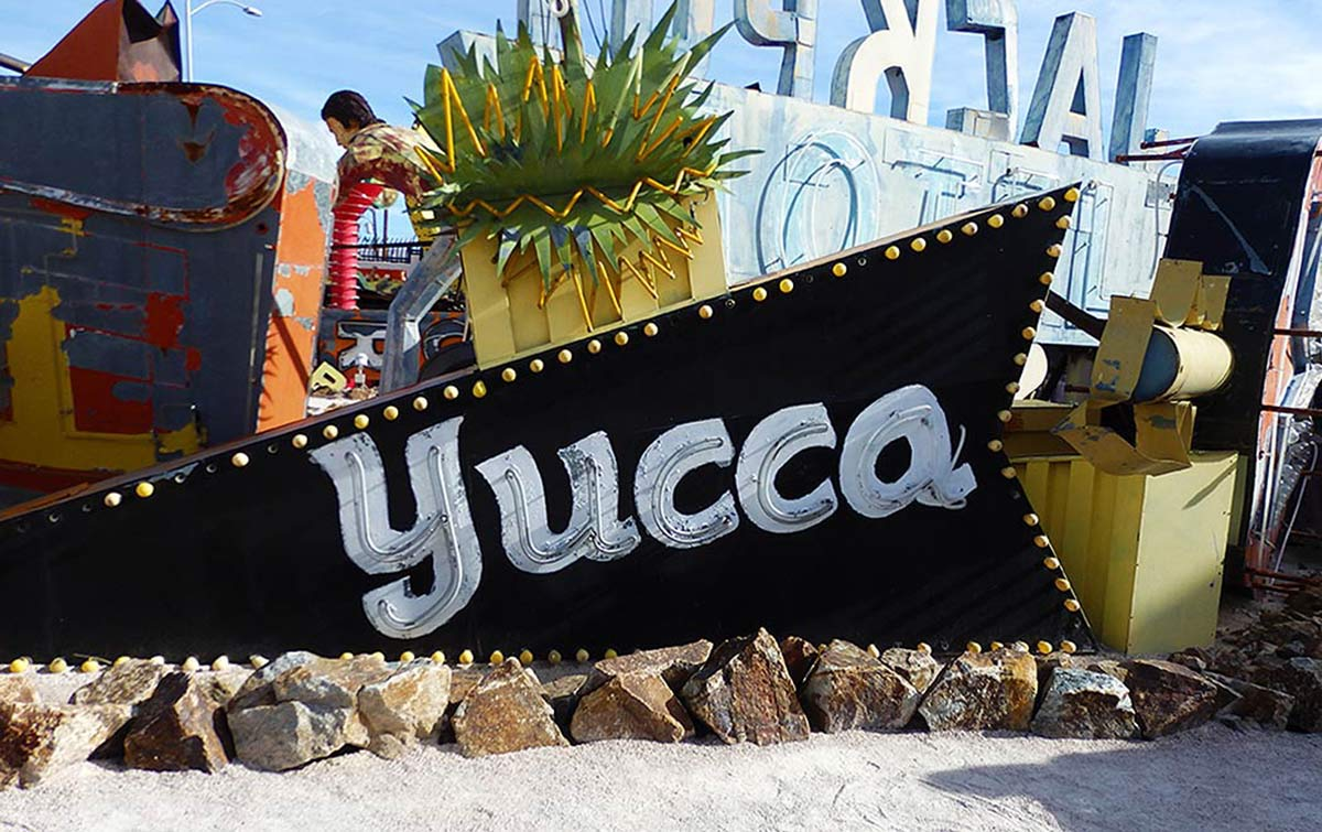 The neone sign for the Yucca Motel, of a type seen at less expensive motels all over old Las Vegas.
