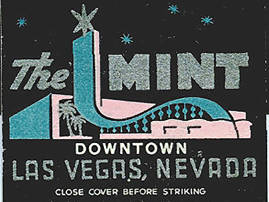 A vintage matchbook cover of the old Mint casino in downtown Las Vegas.