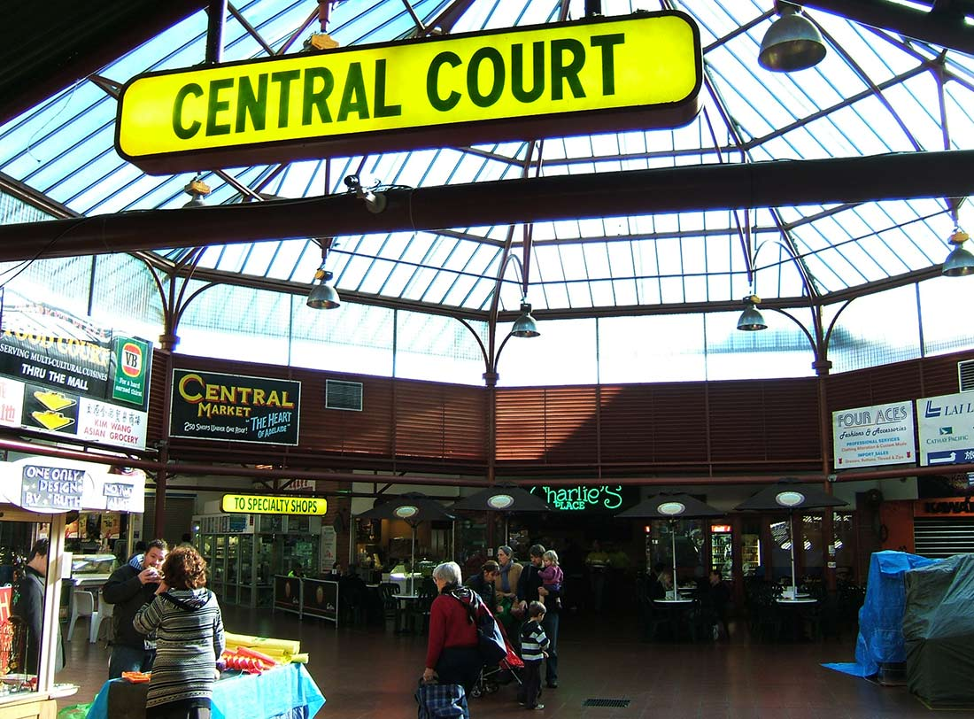 The Central Court at Adelaide's Central Market features a Victorian-era glass-domed ceiling.