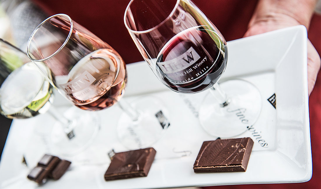 Wine and fine chocolate, perfectly paired at ChocoVine, Hahndorf Hills Winery,, in the Adelaide HIlls, South Australia.