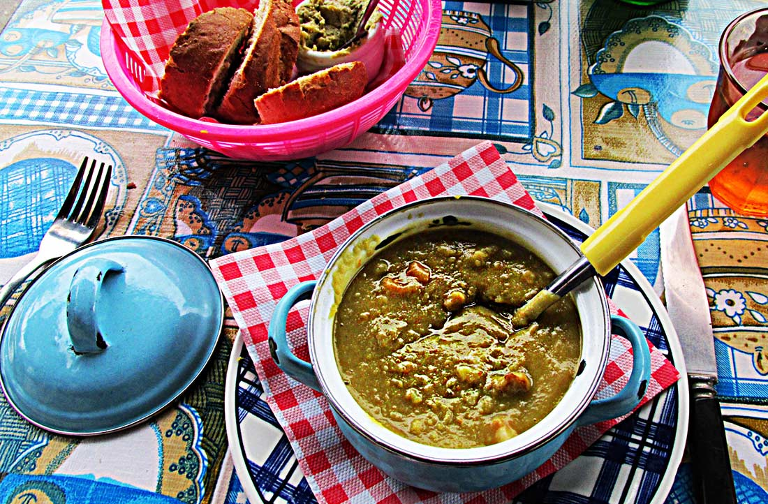 """The Dutch Pea Soup, or """"snert' at Moeders Restaurant in Amsterdam, is the closest I've found to homemade."""