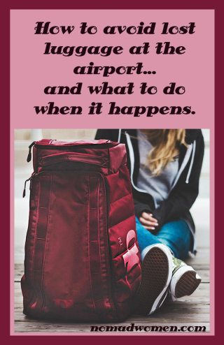 Pin image--How to avoid lost luggage at the airport... and what to do if it happens anyway.