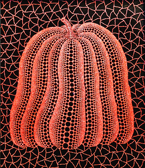 A big, bold, orange, polka-dot pumpkin painting by Japanese artist Yayoi Kusama.