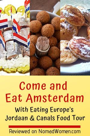 "Pinnable image -- ""Come & eat Amsterdam"" with small photos of some dishes."