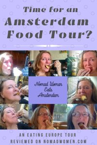 A collage of headshots of me stuffing my face at various stops on the Eating Europe Amsterdam Food Tour - Pinnable image