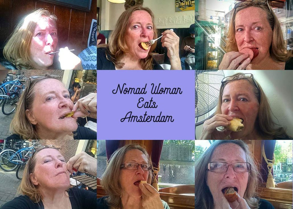 A collage photo of me chowing down on several different foods on the Eating Europe Amsterdam food tour.