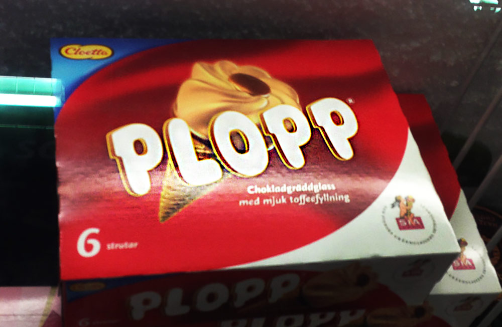 A package of Plopp chocolate ice cream cones