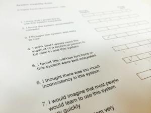 Paper SUS questionnaire