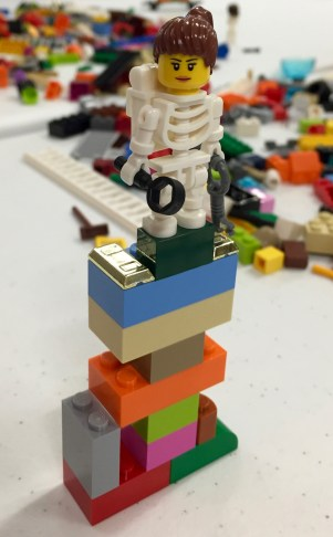 Skeleton woman on Lego tower from Lego Serious Play workshop