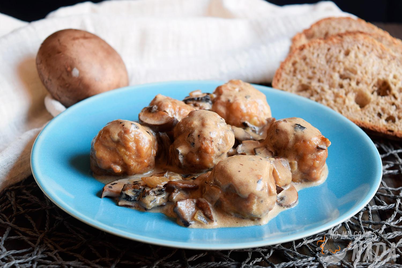 Albóndigas de pollo con setas