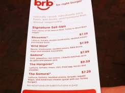 Be Right Burger Menu