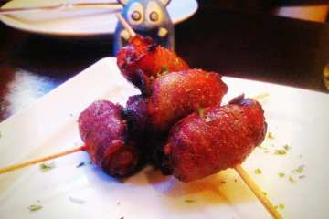 Bacon Wrapped Dates Stuffed With Gorgonzola from La Tasca