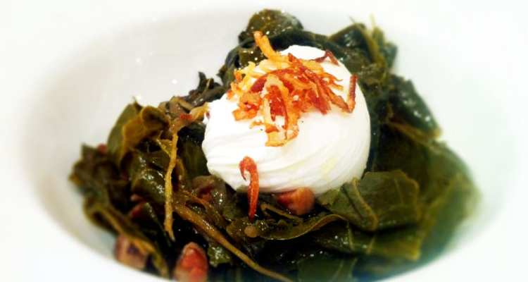 Collard Greens Poached Egg from Seasonal Pantry