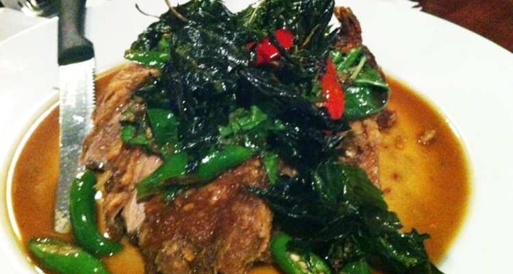 Crispy Duck with Basil from Sabai Sabai Simply Thai