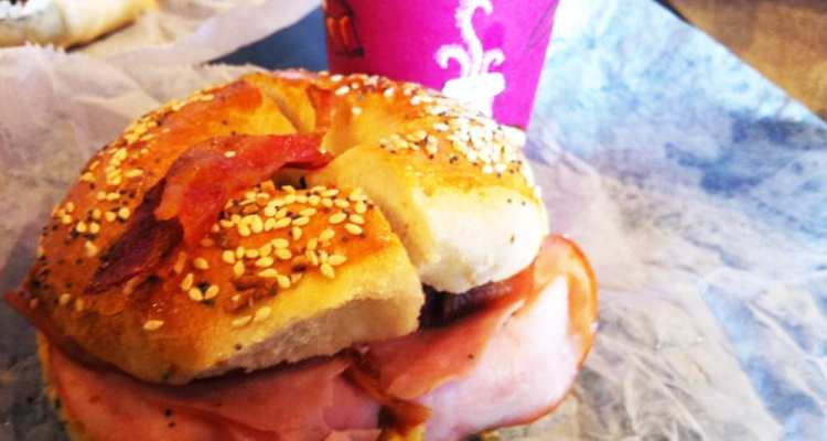Fried Egg Ham Bacon and Cheese Bagel from Georgetown Bagelry