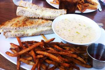 Grilled Cheese and Clam Chowder Soup from Founding Farmers MoCo