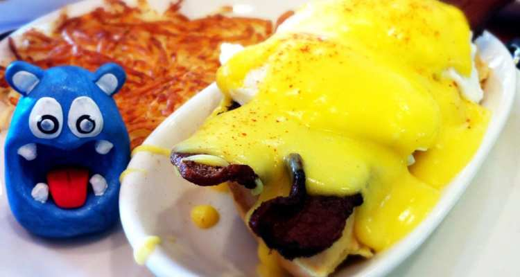 Waffles Benedict w Bacon from Original Pancake House