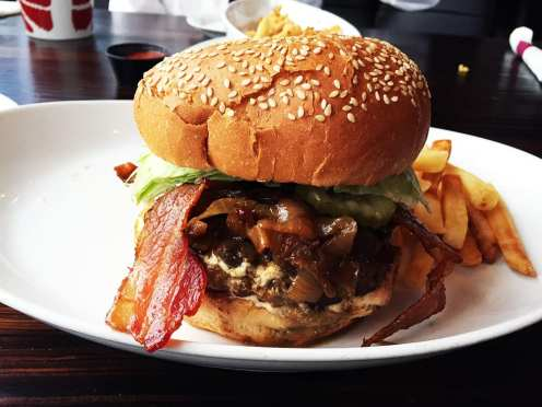 Soprano's Ultimate Burger $13 @ Godfather's Burger Lounge in Belmont California