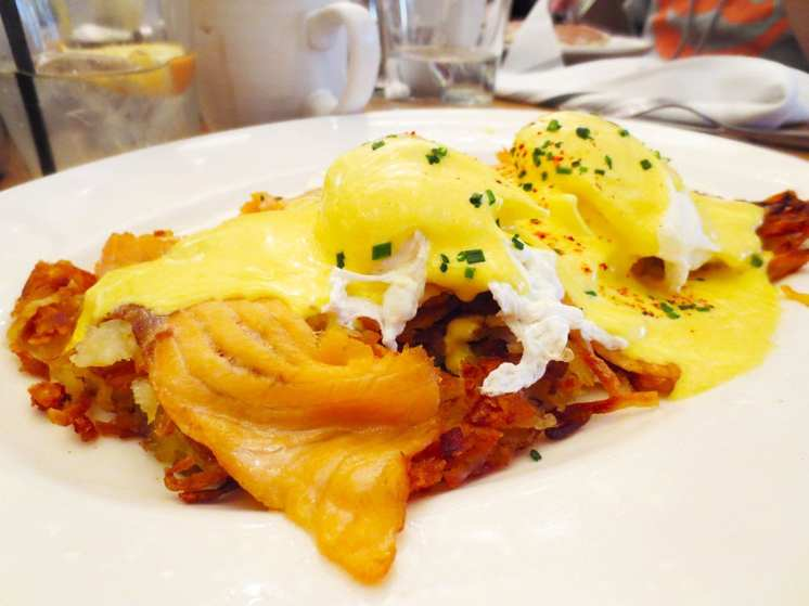 Smoked Salmon Hashbrown Benedict at Summer House Rockviile