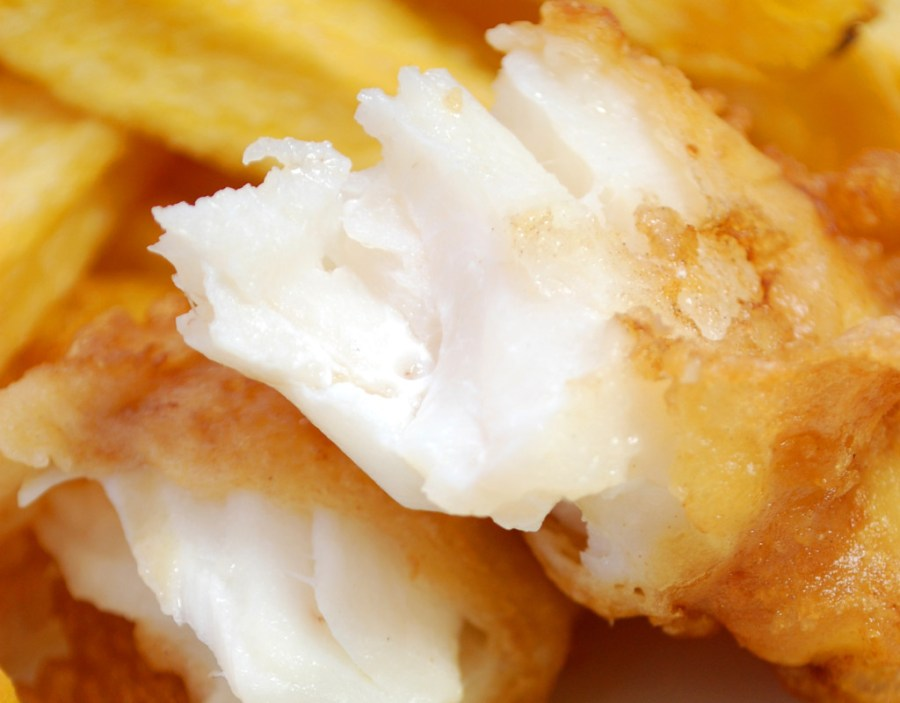 moist and tender insides of beer battered fish and chips