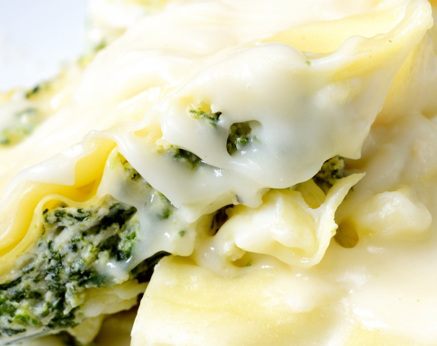 lasagna stuffed with ricotta and spinach and mozzarella with bechamel sauce (with thickeners)