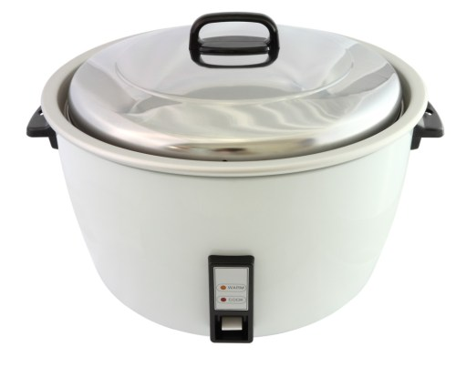 Electric rice cooker on white background.