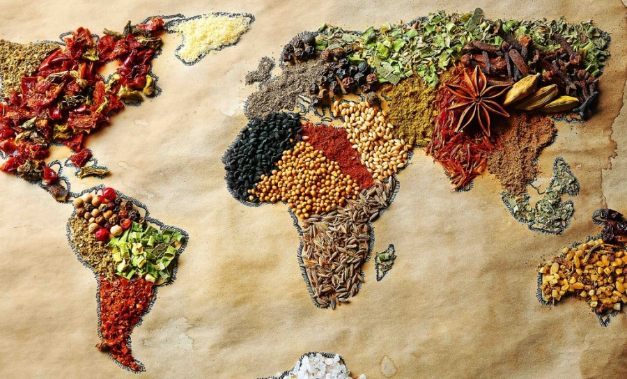 World map of spices