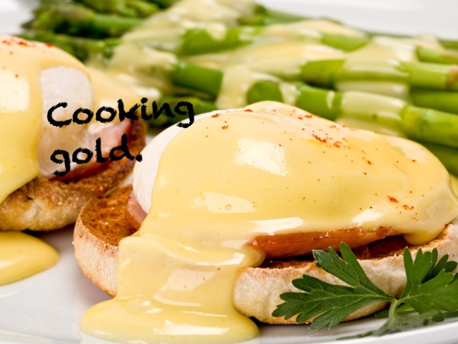 Hollandaise sauce for eggs benedict are cooked in a bain marie (or water bath)